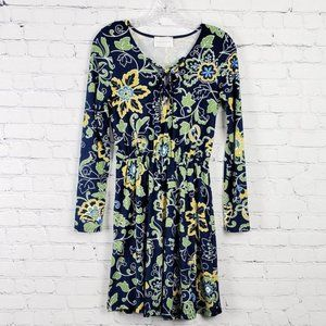French Grey Long Sleeve Navy Floral Dress S NWOT